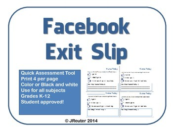 Facebook Status Exit Slip for any subject