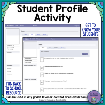 facebook student template pdf by the creative classroom tpt. Black Bedroom Furniture Sets. Home Design Ideas