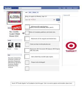 Facebook Style Info Sheet