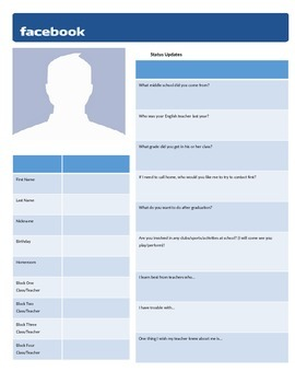 Editable Facebook-Style Student Information Sheet