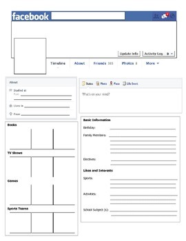 Facebook Template - Great for First Day of School or Novel Character Study
