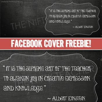 Facebook Cover- Chalkboard Design!  Albert Einstein Quote!  Freebie!
