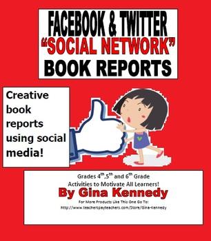 Facebook & Twitter Social Media Book Report Templates, Cre