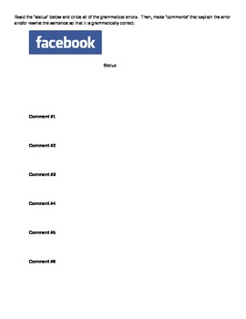 Facebook Writing and Grammar Activity