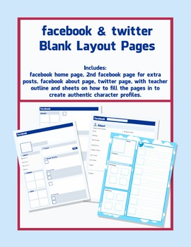 Facebook and Twitter Character Pages - blank Templates