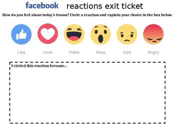 Facebook reactions exit ticket