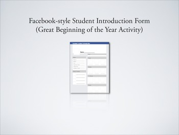 Facebook-style Student Introductions (Great Beginning of t