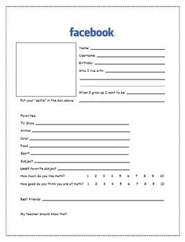 Facebook/Social Media themed get to know your students activity