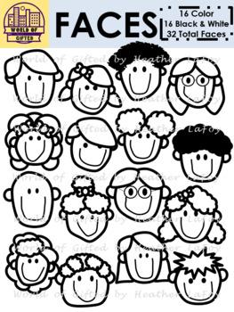 Faces Clip Art {People, Kids, Face}