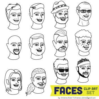 Faces Clip Art Set