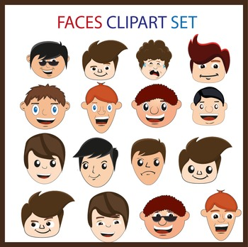 Faces clipart set