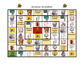 Schulfacher (School Subjects in German) Schnecke Snail game