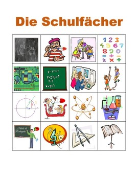 Schulfächer (School Subjects in German) Bingo
