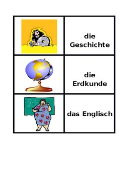 Schulfacher (School subjects in German) Concentration games