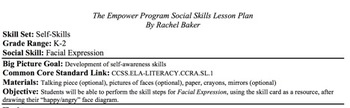 Facial Expression - Social Skills Lesson Plan