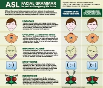 Facial Grammar—Eyebrows up, Eyebrows down. ASL