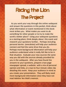 Facing the Lion: Growing up Maasai Webquest Packet (Bonus Novel Quiz!)