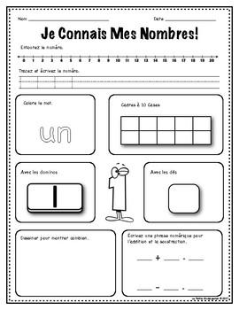 Façon de Faire  0-20  Worksheets