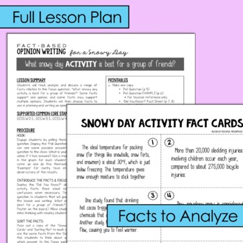 Fact-Based Opinion Writing for a Snowy Day {Question #1}