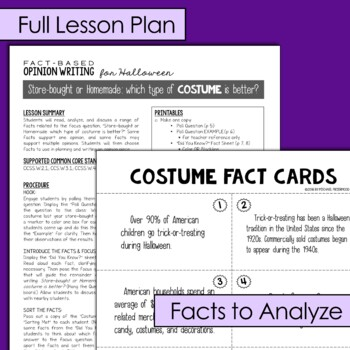 Fact-Based Opinion Writing for Halloween {Question #1}