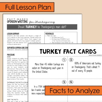 Fact-Based Opinion Writing for Thanksgiving {Question #1 and #2}