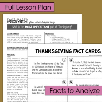 Fact-Based Opinion Writing for Thanksgiving {Question #2}