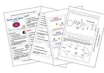 Solar System, Earth, Moon, and Sun Fact Cards
