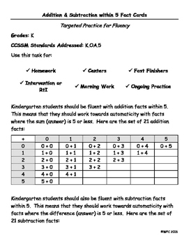Fact Cards for Kindergarten: Addition & Subtraction within 5