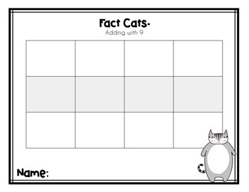 Fact Cats 9s (Addition File Folder Game)