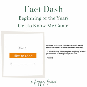 Fact Dash:Beginning of the Year/Get to Know You/All About Me Game Speech Therapy