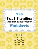 Fact Families - Addition and Subtraction Worksheets