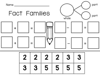 Fact Families Addition and Subtraction Worksheets