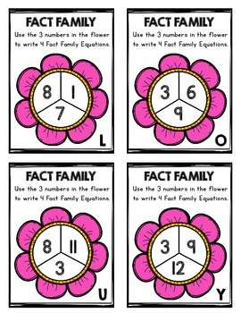 Fact Families Task Cards for Kindergarten and First Grade