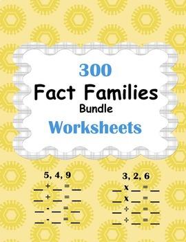 Fact Families Worksheets Bundle