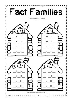 Fact Families / Fact Family Houses / Worksheets / Printables / Goldilocks Math