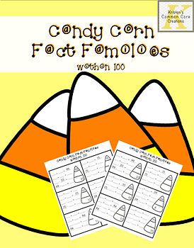 Fact Families 2nd Grade Adding Subtracting within 100 Candy Corn Halloween Math