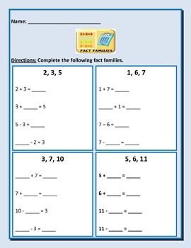 Fact Families - 5 pages - Common Core