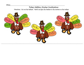 Fact Families & Addition Number Combinations with turkey feathers- Thanksgiving