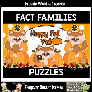 """Fact Families--Addition/Subtraction Fall Scene Puzzles """"Happy Fall Y'all"""""""