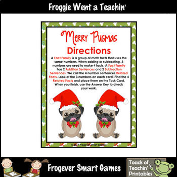 """FREEBIE -- Fact Families -- Addition/Subtraction -- """"Merry Pugmas"""" Set II"""