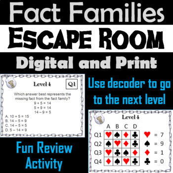 Fact Families Addition and Subtraction Game: Escape Room Math