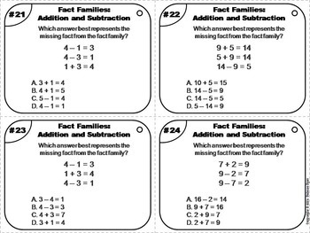 Fact Families Task Cards 1st 2nd 3rd Grade (Addition & Subtraction)
