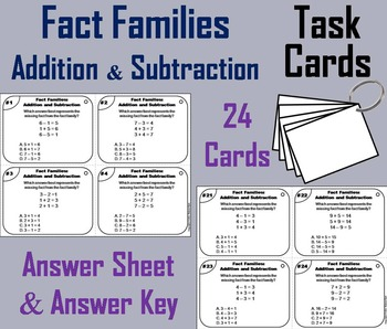 Fact Families Task Cards 1st 2nd 3rd Grade (Addition & Sub
