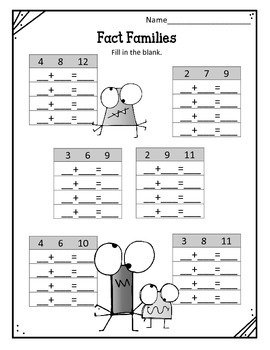 Fact Families.  Addition and Subtraction Worksheets