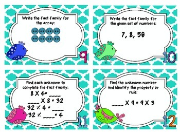 Fact Families, Arrays, and Multiplication Properties Task Cards
