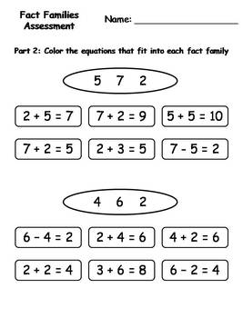Fact Families Assessment {FREEBIE}