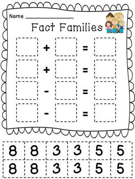 Fact Family Cut & Paste with Sums to Ten by Deborah Bergstrom | TpT