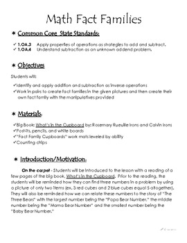 Fact Families - Differentiated Activity with Lesson Plan - Common Core aligned