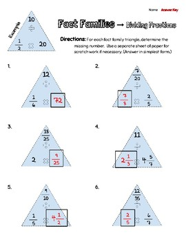 Fact Families - Dividing Fractions & Whole/Mixed Numbers