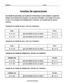 Fact Families - Familias de Operaciones - Spanish - 3rd Grade